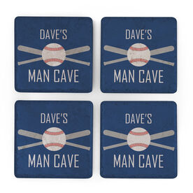 Baseball Stone Coasters Set of Four - Man Cave