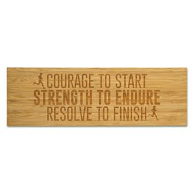 """Running 12.5"""" X 4"""" Engraved Bamboo Removable Wall Tile - Courage To Start Strength To Endure Resolve To Finish"""