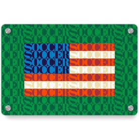 Soccer Metal Wall Art Panel - American Flag Mosaic