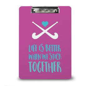 Field Hockey Custom Clipboard Field Hockey Stick Together