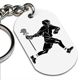 Lacrosse Printed Dog Tag Keychain Lacrosse Player