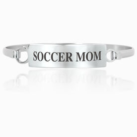 Soccer Engraved Clasp Bracelet - Mom (Text)