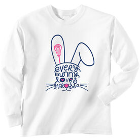 Girls Lacrosse Long Sleeve T-Shirt - Every Bunny Loves Lacrosse