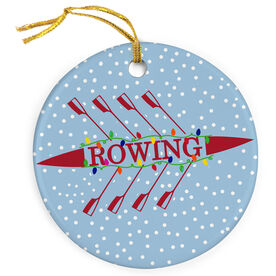 Crew Porcelain Ornament Rowing Silhouette With Holiday Lights