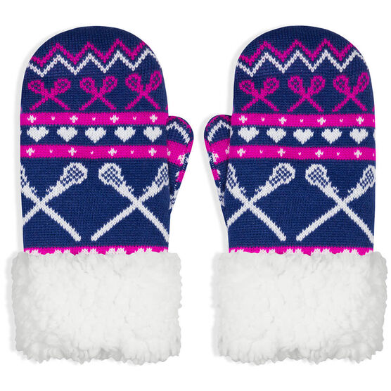 Girls Lacrosse Sherpa Mittens - Crossed Sticks and Hearts