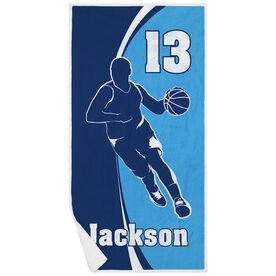 Basketball Premium Beach Towel - Personalized Guy with Big Number