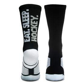 Hockey Woven Mid-Calf Socks - Eat. Sleep. Hockey