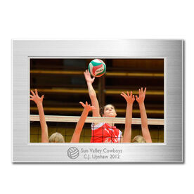 Engraved Volleyball Frame Silver 4 x 6 with Volleyball Icon