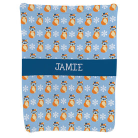 Skiing and Snowboarding Baby Blanket - Fox With Goggles Pattern