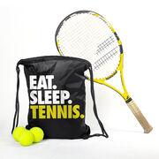 Tennis Sport Pack Cinch Sack Eat. Sleep. Tennis.