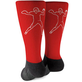 Football Printed Mid-Calf Socks - Quarterback