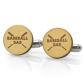 Baseball Engraved Wood Cufflinks Dad