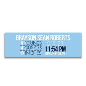 "Personalized 12.5"" X 4"" Removable Wall Tile - Birth Announcement"