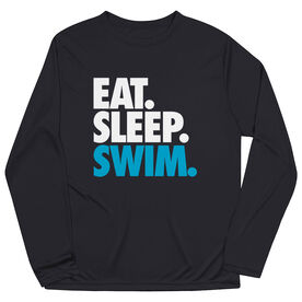 Swimming Long Sleeve Performance Tee - Eat. Sleep. Swim.