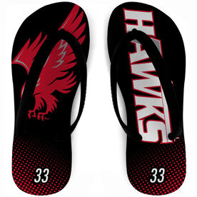 Flip Flops - Greater Lowell Hawks Hockey with Number