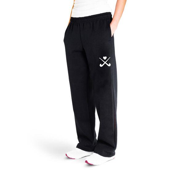Field Hockey Fleece Sweatpants - Crossed Sticks With Heart