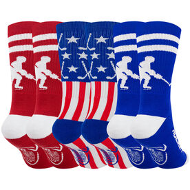 Hockey Woven Mid-Calf Sock Set - All American