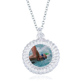 Swimming Braided Circle Necklace - Custom Photo
