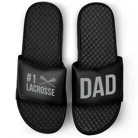 Girls Lacrosse Black Slide Sandals - #1 Lacrosse Dad