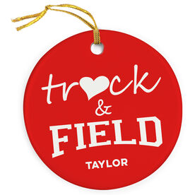 Track and Field Porcelain Ornament Heart Track and Field