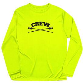 Crew Long Sleeve Performance Tee - Crew Crossed Oars Banner