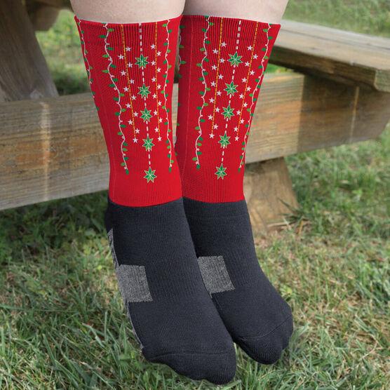 Printed Mid-Calf Socks - Christmas Lights