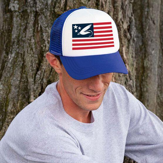 Fly Fishing Trucker Hat - American Flag