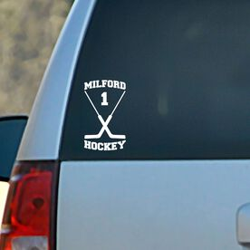 Vinyl Car Decal Personalized Hockey Goalie Sticks