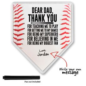 Premier Wooden Baseball Home Plate Plaque - Dear Dad
