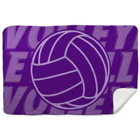 Volleyball Sherpa Fleece Blanket Ball with Word