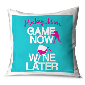 Hockey Throw Pillow Game Now Wine Later with Hockey Player