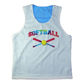 Girls Softball Racerback Pinnie Personalized Softball with Crossed Bats Rainbow