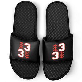 Baseball Black Slide Sandals - Three Up Three Down
