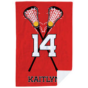 Girls Lacrosse Premium Blanket - Personalized Player with Crossed Sticks