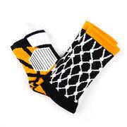 Basketball Woven Mid-Calf Socks - Hoop and Ball (Black/Orange)