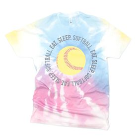 Softball Short Sleeve T-Shirt - Eat Sleep Softball Tie-Dye
