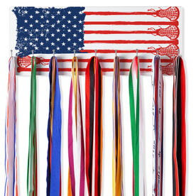 Girls Lacrosse Hooked on Medals Hanger - Lax Flag