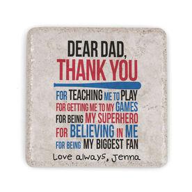 Softball Stone Coaster - Dear Dad (Autograph)