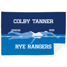 Swimming Premium Blanket - Personalized Swimming Girl Senior