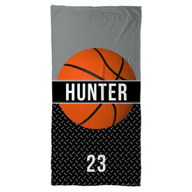 Basketball Beach Towel Personalized with Stripe