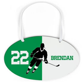 Hockey Oval Sign - Personalized Hockey Silhouette