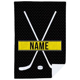 Hockey Premium Blanket - Personalized Crossed Sticks With Stripe