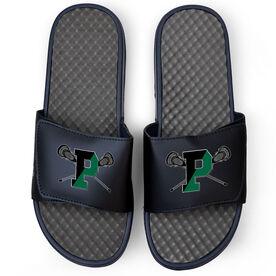 Navy Slide Sandals - Pentucket Youth Lacrosse Logo