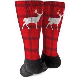Printed Mid-Calf Socks - Plaid Reindeer