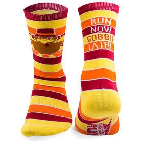 Running Woven Mid Calf Socks - Run Now Gobble Later (Yellow/Orange/Brown)
