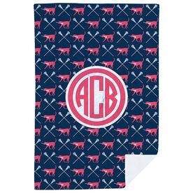 Girls Lacrosse Premium Blanket - LuLa the Lax Dog Pattern Monogram