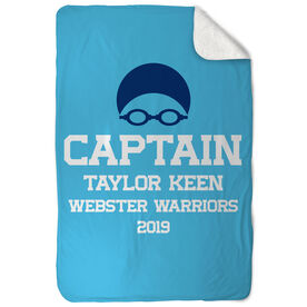 Swimming Sherpa Fleece Blanket - Personalized Captain