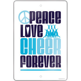"Cheerleading 18"" X 12"" Aluminum Room Sign Peace Love Cheer Forever"