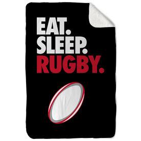 Rugby Sherpa Fleece Blanket - Eat. Sleep. Rugby. Vertical