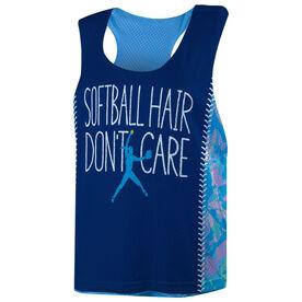 Softball Racerback Pinnie - Softball Hair Don't Care